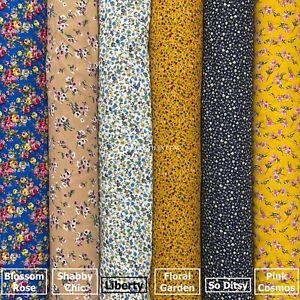 COTTON PRINT-DITSY FLORAL-MAGENTA//PINK//WHITE FASHION//CRAFT FABRIC-FREE P/&P