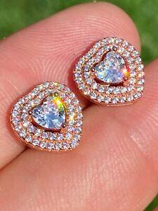 2.00 Ct Heart Cut Diamond Halo Wedding Stud Earrings Gift 14K Rose Gold Finish