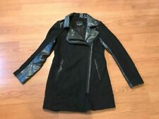 SAM EDELMAN LEIGH COAT JACKET ASYMMETRICAL MOTO ZIP WOOL LEATHER BLACK SIZE XS