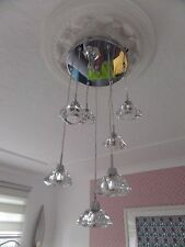 Next Beautiful SIENA 7 Light Cluster With Hand Cut Solid Clear Glass Pendant