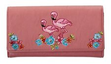 Elegant Floral Flamingo Wallet by Banned Purse Rockabilly 50s Retro Dusty PINK