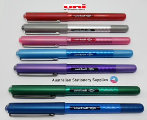 7 Different Coloured Uniball Eye UB157 Pens 0.7mm S/Steel Tip Capped tracked