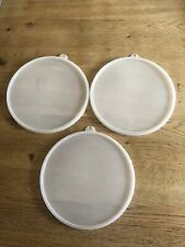 More details for vintage tupperware x3 lids only replacement round clear retro unused 21.5cm