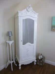 French Bordeaux Single Armoire Wardrobe In White - Shabby Chic Style Wardrobe