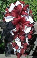 Silk Flower Wedding Bouquet Set Red Casablanca Lily 12 pc Set