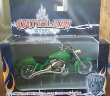 Toy Zone  Iron Legends Motorcycle 1/18 Scale Die Cast  Green w/ flames