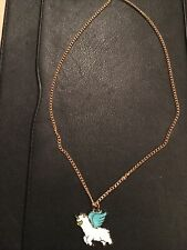 Blue Unicorn / Winged Horse Necklace On Gold Chain 45cm New