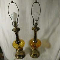 Set of 2 amber glass mid-century modern table lamps approximately 29 in tall
