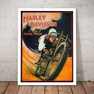 Vintage Harley Davidson Motorcycle Wall Art Poster Print - A3 A2 A1 A0 Framed