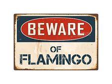 "Beware Of Flamingo 8"" x 12"" Vintage Aluminum Retro Metal Sign VS171"