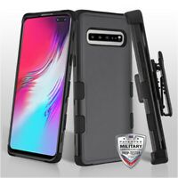For Samsung Galaxy S10 5G Hybrid Shockproof Rugged Hard Clip Holster Case Cover