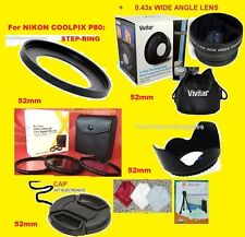 23pcs: 0.43X WIDE ANGLE LENS 52mm+ ADAPTER RING for CAMERA NIKON COOLPIX P80