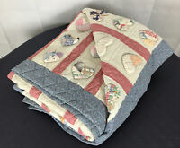 Country Hearts Quilt puff applique hand made pastel calicos farmhouse cottagecor