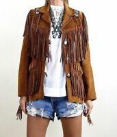Womens Brown Suede Leather Western wear Jacket Fringed & Beads Handmade Jackets