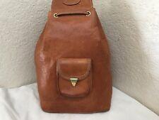 Pena-Ramirez Made in Spain Tan Leather Drawstring Backpack