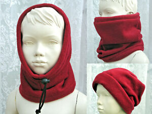 Kids girl boy Wine Deep Red Burgundy SNOOD fleece neck warmer scarf hat school