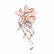 Elegant Gold Plated Pink Petal Clear Rhinestone Crystal Fashion Brooch