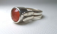 NEW Tall ROUND Carnelian Moonstone GEMSTONE Reversible Ring 925 STERLING Silver