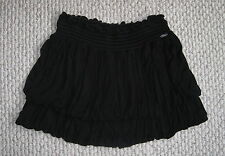 GUESS BLACK RUCHED TIERED PLEATED BUBBLE S MINI STRETCH SKIRT