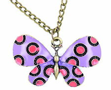 Vintage antique style purple enamel butterfly necklace