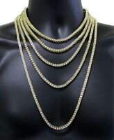 Men Women 1 Row Tennis Necklace 14k Gold Plated Choker Chain Cz