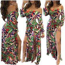 NWOT Womens Tropical Print Off Shoulder High Split Shorts Maxi Dress Small W99