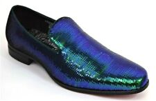 Men's Dress Casual Fancy Shoes Peacock Pear Sequin Smokers Slip On Loafers 6865