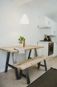 Dining Table & Bench Set - Desk - Hairpin A Frame Legs Reclaimed Scaffold Board
