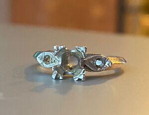 Antique Platinum engagement ring solitaire setting 6 1/4