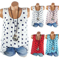 Plus Size Women Polka Dot Lace Crochet Tank Top Sleeveless Blouse Summer T-Shirt