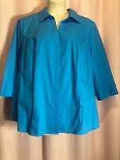 New Without Tags-Riders by Lee 2XL 2X? Blue Easy Care Button Blouse Top Shirt J1