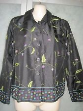 Coldwater Creek 100% Silk Black w/Embroidery Flower Button Down LS Shirt Top PXS