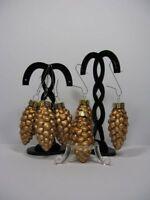 n310) 6 alte Vintage Weihnachtskugeln Kugeln Glas Tannenzapfen Zapfen Gold Matt