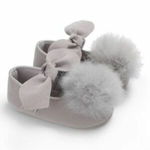 Walking Shoes With Soft Fur Ball And Bow For Baby Girls Slip-on Shallow Footwear