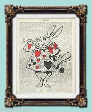 "Alice In Wonderland Rabbit Antique vintage encyclopaedia dictionary art 10 x 8"""