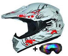 Kids Pro Weiß S Kinder Motorradhelm Brille ATO Cross Helm MX Crossbrille Enduro