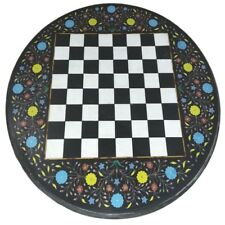 """24"""" Marble Chess game Table Top inlaid stones Pietra Dura Work"""