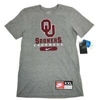 The Nike Tee OU Sooners Football Gray Red S/S Athletic Cut NWT T-Shirt Mens S