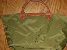 Longchamp womens tote handbag purse nylon green leather trim bag cute!
