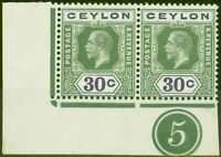 Ceylon 1912 30c Yellow-Green & Violet SG313ab Wmk Sideways Superb MNH Plate Pair