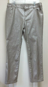 Chico's 2.5 US 14 women's pants silver sparkle over brown coated straight leg EC