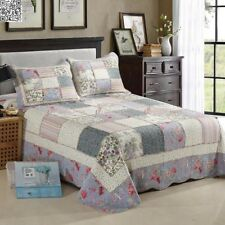 Florals Cotton Quilted Coverlet/BedSpreads King/Queen Patchwork 3Pc Set Colorful