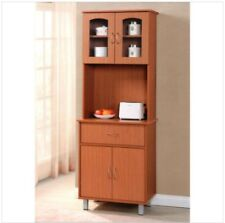 Microwave Stand With Storage Freestanding Cabinet Pantry Cupboard Cherry Modern