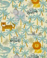 Magic Moon Nursery Flannel BTY (YD) - Safari Adventure Animals, Jeep, Palm Trees