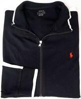 NEW $125 Polo Ralph Lauren Full Zip Black White Long Sleeve Knit Jacket Mens NWT