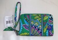 VERA BRADLEY ZIP AROUND WALLET & WRISTLET - EMERALD PAISLEY GREEN  NEW WITH TAG