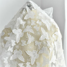 Butterfly Wedding Costume Tulle Lace Fabric Embroidery Bridal Dress Fabric 0.5 M