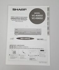 Sharp VCR Owner's Manual VC-A565U, VC-H965U Operation VHS Video Cassette