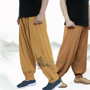 Buddhist Monk Trousers Shaolin Kung fu Tai chi pants Cotton Linen Blend Wide