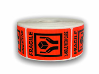 500 Labels 2x3 Br/Red FRAGILE 'Hands Holding Box' Shipping Mailing Warning